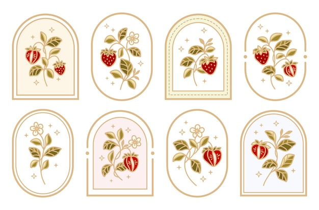 Kolekcja etykiet vintage strawberry logo z ramką i kwiatowymi elementami