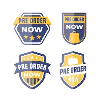 Kolekcja etykiet w przedsprzedaży w kolorze niebieskim i żółtym