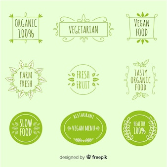 Kolekcja etykiet wegańskich