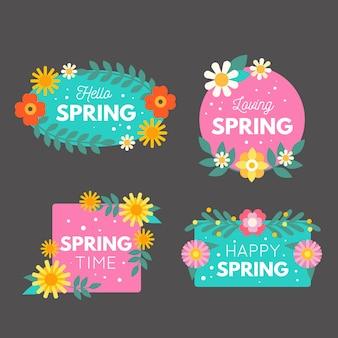 Kolekcja etykiet wiosennych w stylu płaski