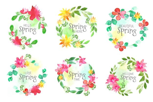 Kolekcja etykiet wiosennych w stylu przypominającym akwarele