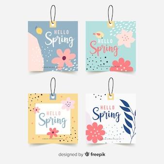 Kolekcja etykiet wiosna pastelowy kolor