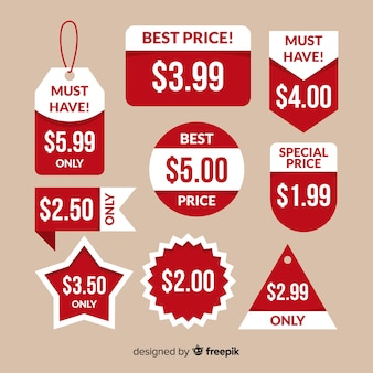 Kolekcja etykiet z ceną płaską