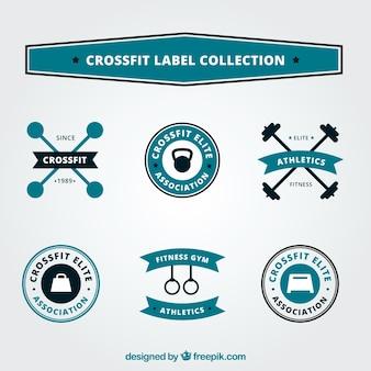 Kolekcja etykiet z czarnym i niebieskim napisem crossfit