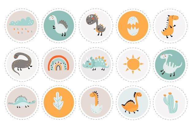 Kolekcja etykiet z dinozaurami i przedmiotami szablony kart do wydrukowania