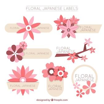 Kolekcja etykiet z japońskimi kwiatami