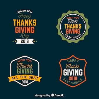 Kolekcja etykiet z okazji święta dziękczynienia