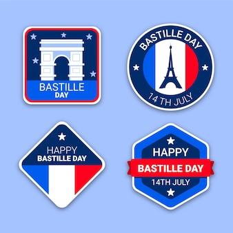 Kolekcja etykiet z płaskim dniem bastylii