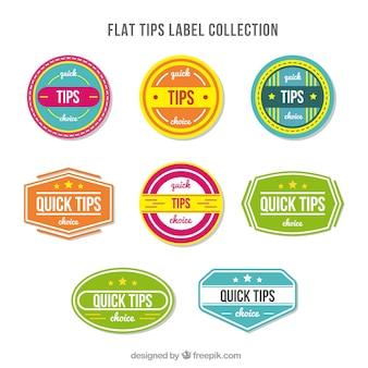 Kolekcja etykiet ze współczesnymi wskazówkami o płaskiej konstrukcji
