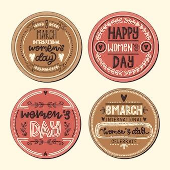 Kolekcja etykiet / znaczków na dzień kobiet w stylu retro