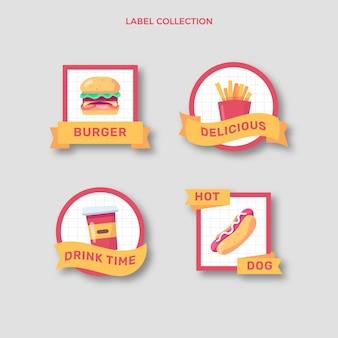 Kolekcja etykiet żywności o płaskiej konstrukcji