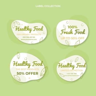 Kolekcja etykiet żywności w stylu płaskim