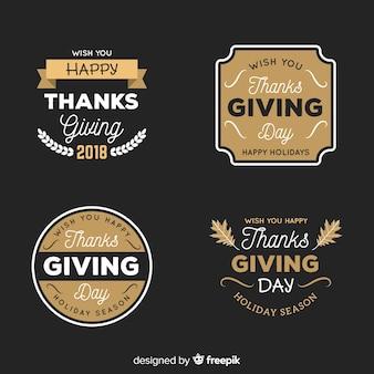 Kolekcja etykieta rocznika dziękczynienia