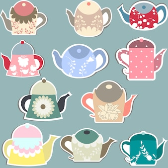 Kolekcja etykietek czajniczek