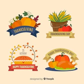 Kolekcja etykiety dziękczynienia w płaskiej konstrukcji