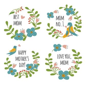 Kolekcja etykiety na dzień matki