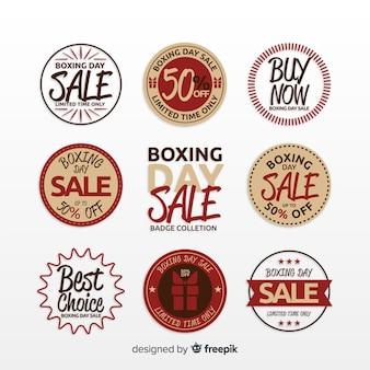 Kolekcja etykiety sprzedaż dzień boxing