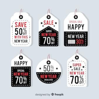 Kolekcja etykiety sprzedaży nowego roku