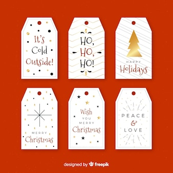 Kolekcja etykiety świąteczne z czarnym i złotym