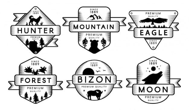 Kolekcja etykiety zwierzęta i przyroda ustaw logo