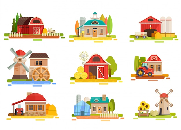 Kolekcja farm flat scenery