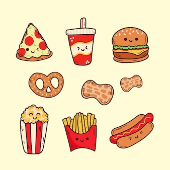 Kolekcja fast food kawaii