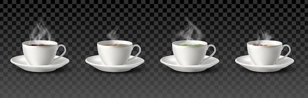 Kolekcja filiżanek do kawy i herbaty