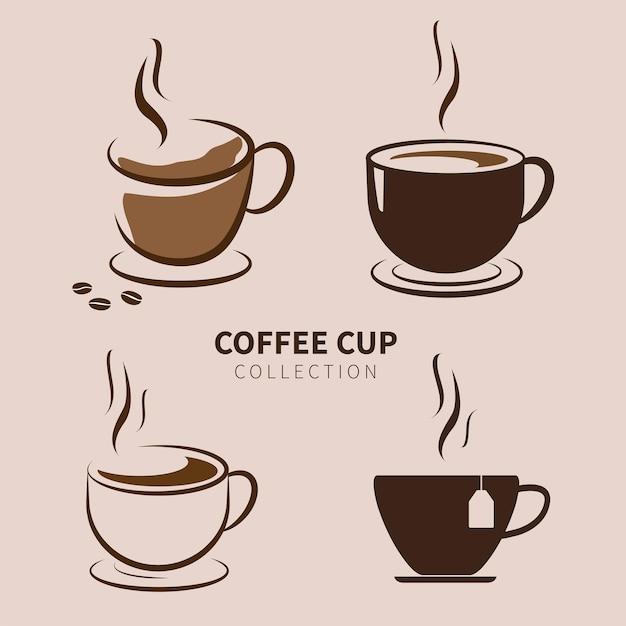 Kolekcja filiżanek kawy na białym tle na brązowym tle