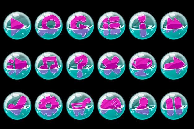 Kolekcja fioletowych przycisków w bańkach mydlanych. zestaw ikon bąbelków do interfejsu graficznego.