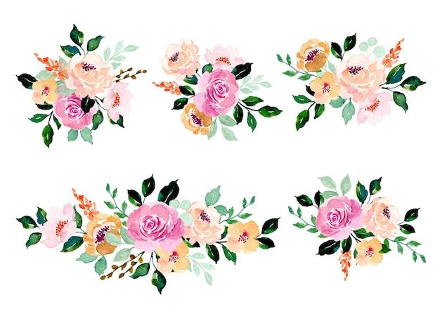 Kolekcja fioletowych róż, kwiatów brzoskwini z akwarelą