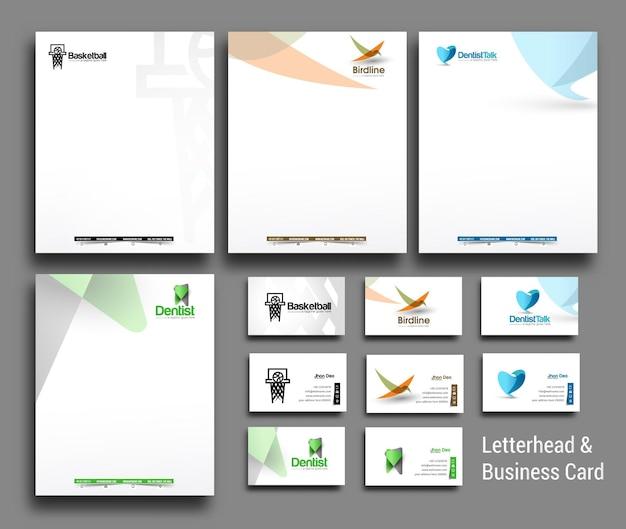 Kolekcja firmowego papieru firmowego i szablonów wizytówek w stylu biznesowym