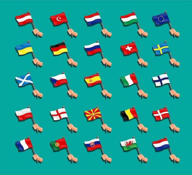 Kolekcja flagi euro zestaw flagi państw narodowych europejskich z ręką