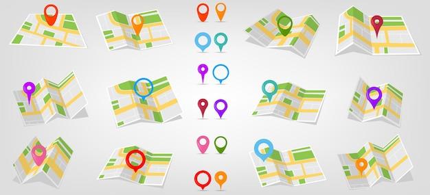 Kolekcja geolokalizacji z ikonami lokalizacji