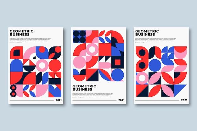 Kolekcja geometrycznych okładek biznesowych w żywych kolorach