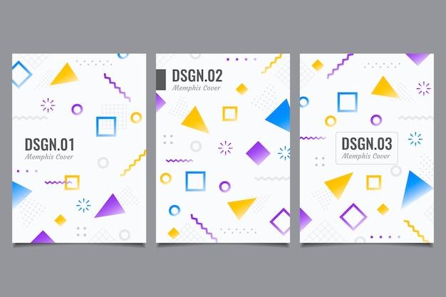 Kolekcja geometrycznych okładek projektu memphis
