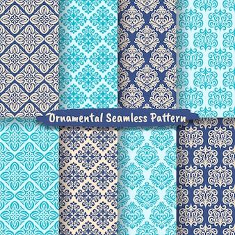 Kolekcja geometrycznych ozdobnych bezszwowych wzorów, zestaw bezszwowych wzorów adamaszkowych