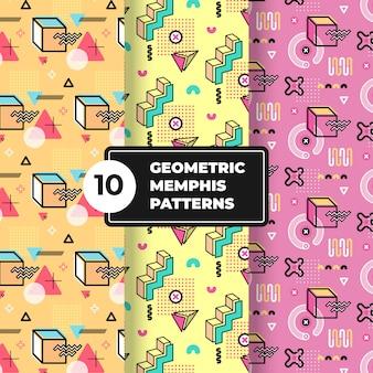 Kolekcja geometrycznych wzorów memphis