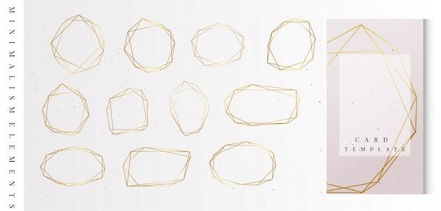 Kolekcja geometrycznych złotych ramek.
