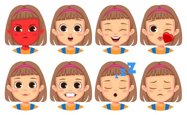 Kolekcja gestów twarzy dziewczyny