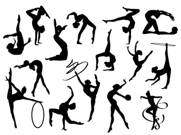 Kolekcja gimnastyczek wykonujących różne sztuczki ze sprzętem sportowym.