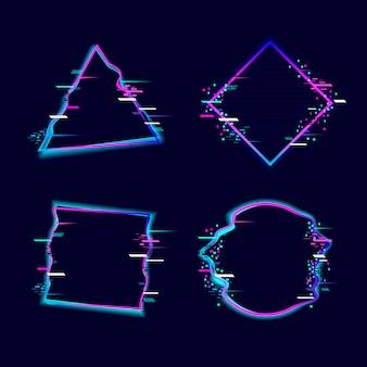 Kolekcja glitched geometryczne kształty