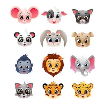 Kolekcja głowa kreskówka szczęśliwy dzikich zwierząt