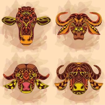 Kolekcja głowy krowy