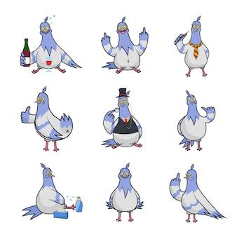 Kolekcja gołębi na białym tle