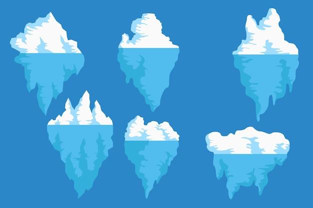 Kolekcja gór lodowych