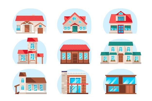 Kolekcja gospodarstwa domowego w płaskiej konstrukcji