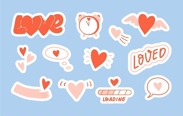 Kolekcja gotowych naklejek z sercami. zestaw rysunków o wyrażaniu miłości. płaska ilustracja