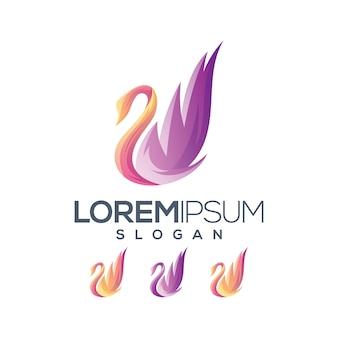 Kolekcja gradientowa logo gęsi
