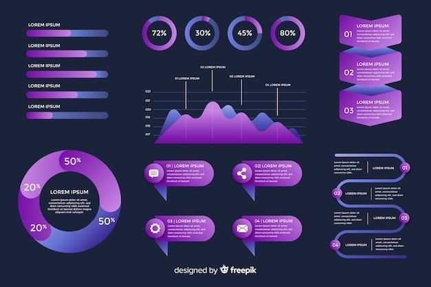 Kolekcja gradientowych elementów infographic