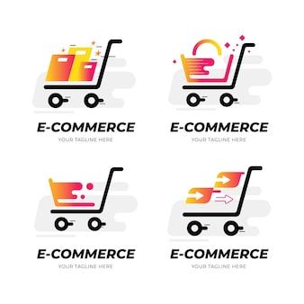 Kolekcja gradientowych logo e-commerce
